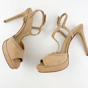 Gianni Bini Kayler Tan T-strap Platform Sandals